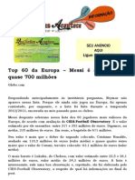 Top 60 da Europa – Messi é avaliado em quase 700 milhões