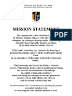 mission statement of st thomas aquinas college