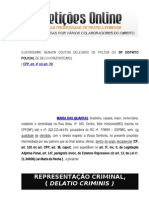 Representação Criminal Crime de Ameaça art 147 do CP Lei Maria da Penha