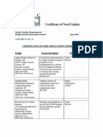 SC DHEC Certificate of Need update