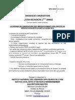 Dossier de Candidature Master 2013 2014