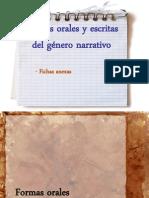 Formas orales y escritas del género narrativo