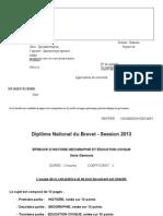 DNB-2013-Histoire géo Educ civique