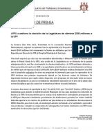 26 junio 2013 APPU cuestiona la decisión de la Legislatura de eliminar $300 millones a la UPR