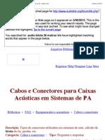 Cabos e Conectores para Caixas Acústicas em Sistemas de PA - [Audio List]