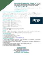Convocatoria Diplomado en Pedagogía Crítica agosto de 2013
