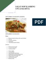 Resep Masakan Sop Kambing Tanah Abang