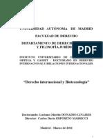 Derecho Internacional y Biotecnología - Dr. Luciano Donadio