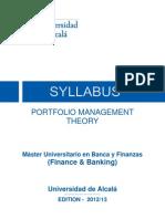036 201560 Syllabus Portfolio Management Theory