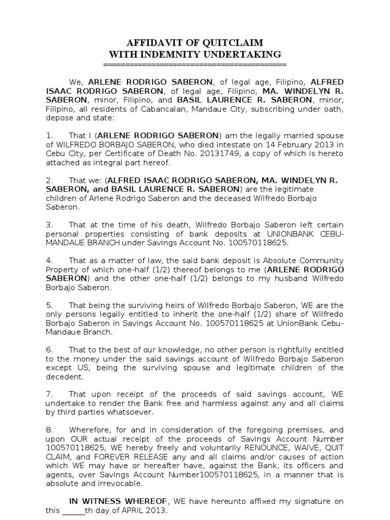 Affidavit of quitclaim intestacy natural resources law altavistaventures Gallery