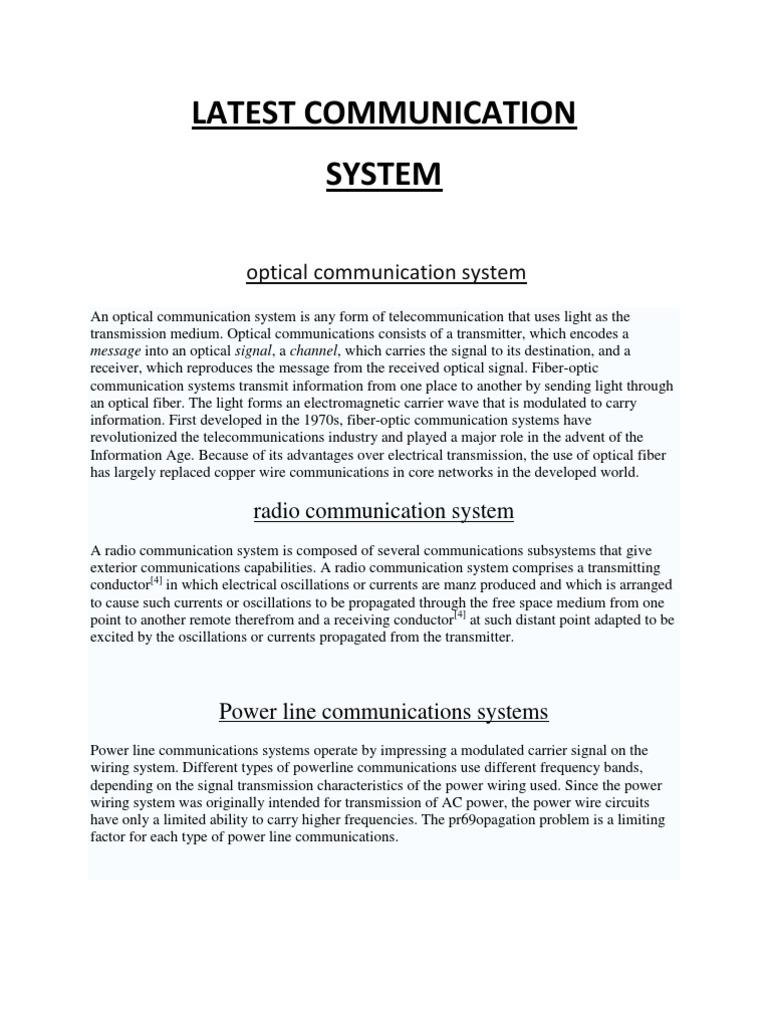 Latest Communication   Communications System   Telecommunication