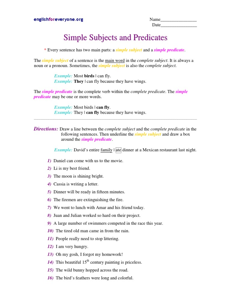 Subject sentences simple examples Compound Subject