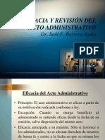 Eficacia y revisión del Acto Administrativo