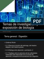 Temas de investigación y exposición de biología