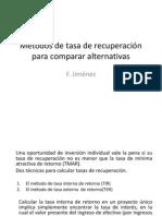 8. Métodos de tasa de recuperación para comparar alternativas