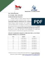 Documentación enviada a la Alcaldía de Palavecino