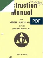 Civil Defense V-700 Geiger Counter Manual