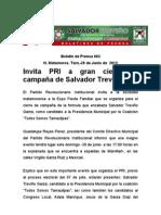 Invita PRI a gran cierre decampaña de Salvador Treviño