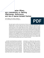 The Role of Teacher Efficacy and Characteristics on Teaching Effectiveness, Performance, and Use of Learner-Centered Practices