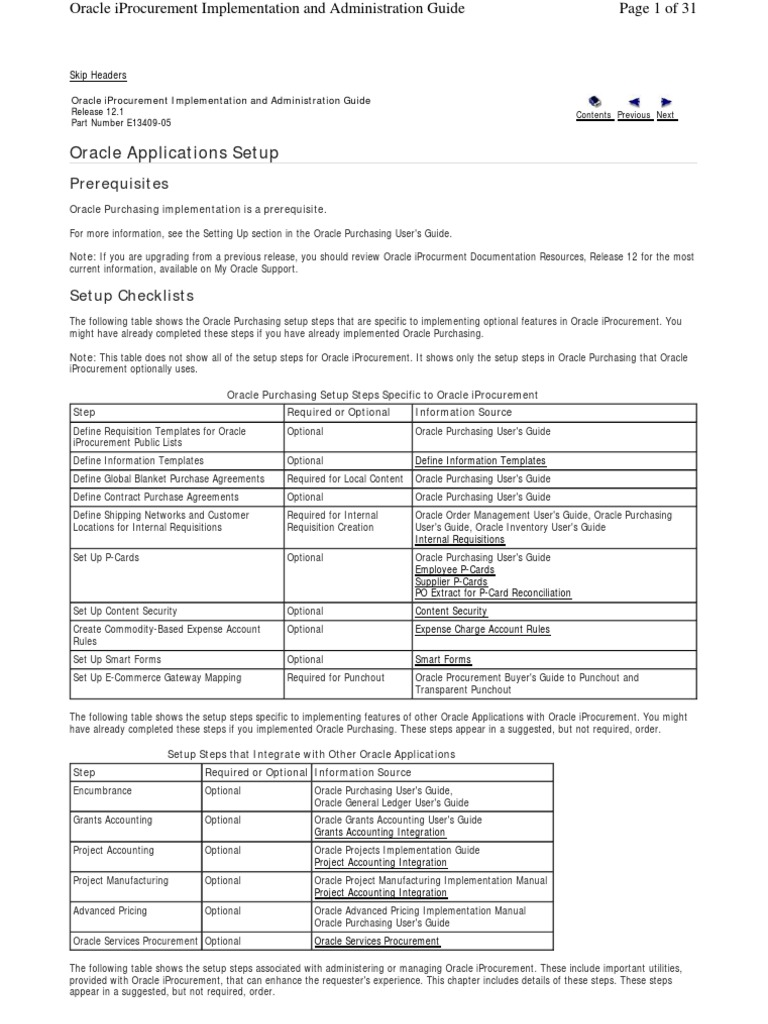 R12 Iproc Setup Flowincluding Profile Oracle Database Procurement