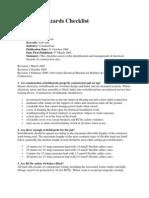 Electrical Hazards Checklist