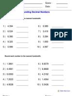 Rounding Decimals Hundredths