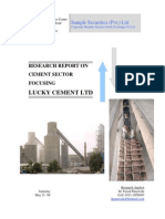 Analysis of Cement Sector in Pakistan focusing Lucky Cement Ltd