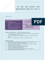 Elaboration on Few Key Points and Addition to Operational Plan for Next 2 Months