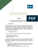 Prêmio Destaque na Iniciação Científica e Tecnológica - 2013