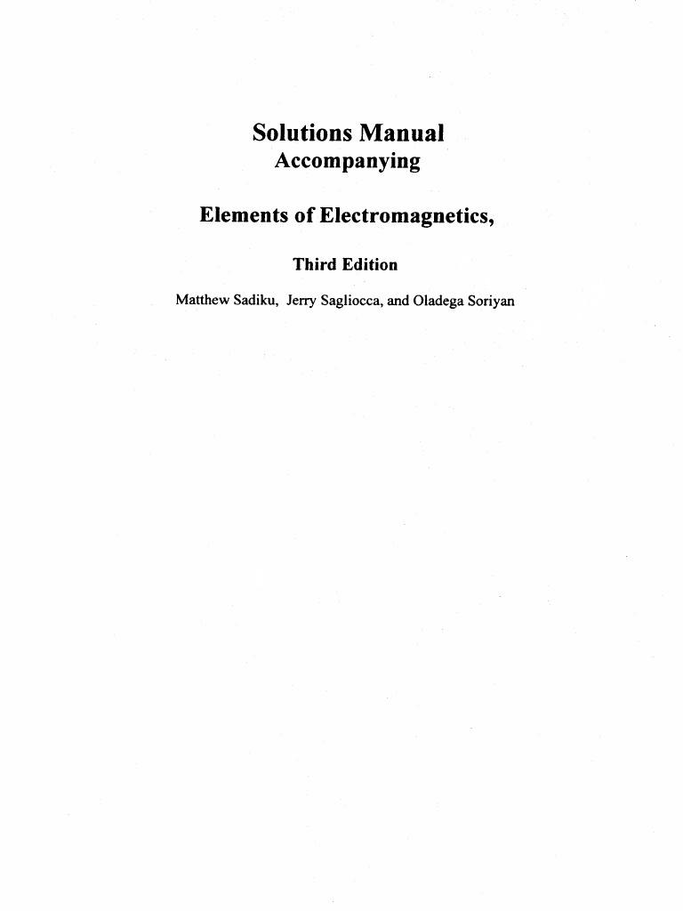 [Solutions Manual] Elements of Electromagnetics - Sadiku - 3rd.pdf