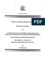Ministerial Statement on Zambia Agriculture Subsidies (June 2013)
