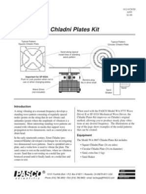 Chladni Plates Kit Manual WA 9607 | Physics & Mathematics | Physics