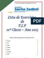 Lista de exercicios da 10º classe