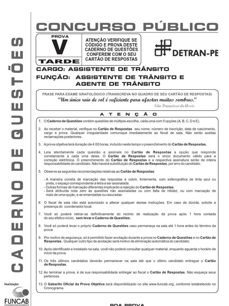 Funcab 2010 Detran Pe Agente de Transito Prova