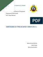 Conversiones de Tipos de Datos y Arrays en c++_abisai Herrera