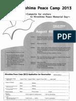Hiroshima Peace Camp 2013 flyer