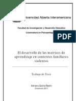 Adriana Cecilia Reaño - El Desarrollo de Las Matrices de Aprendizaje en Contextos Familiares Violentos