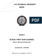 M.tech_CadCam Syllabus for First Year 2012-13