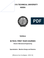 M.tech_Machine Design and Robotics Syllabus for First Year 2012-13