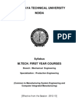 M.tech_Production Engineering Syllabus for First Year 2012-13