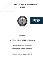 M.tech_Thermal Engineering Syllabus for First Year 2012-13