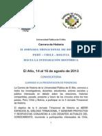 CONVOCATORIA  II JORNADA TRINACIONAL DE HISTORIA PERÚ CHILE BOLIVIA -  2013 (1)