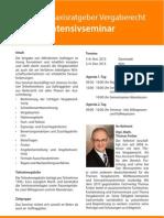 Seminar Praxisratgeber Vergaberecht - Intensivseminar