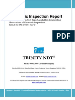 Ultrasonic Inspection NDT Sample Test Report Format