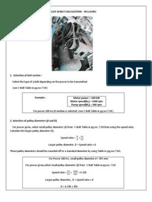 Design Calculation of Pulley & Belt Drive | Belt (Mechanical