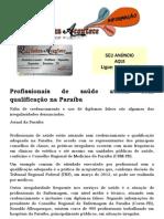 Profissionais de saúde atuam sem qualificação na Paraíba