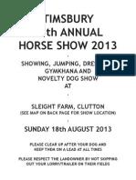 Timsbury Show Schedule 2013