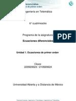 Ecuaciones Diferenciales. Unidad 1. Ecuaciones de Primer Orden. UNADM.