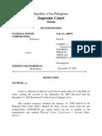 Nat'l. Power Corp. vs Teresita Biato Bernal