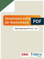 CDU Regierungsprogramm 2013-2017